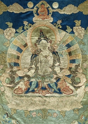 an appliquéd and embroidered thangka of the white tara tibet 19th century