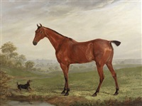 a chestnut horse in a landscape with terrier by william webb
