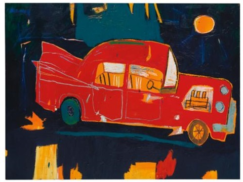 rusting red car in kuau by jean-michel basquiat