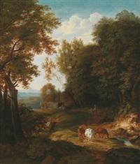 bewaldete landschaft mit kühen, reisenden und hirten auf einem pfad by pietersz (pieter) barbiers