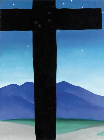 black cross with stars and blue by georgia okeeffe