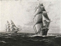 the 'flying cloud' and the 'northern light', clipper ships by t. bailey