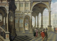 a noble family and its entourage in a palace courtyard, a group of men playing a ball game beyond by dirck van delen