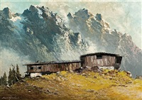 hut in mountains by georg arnold