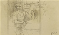man with pole by keith vaughan
