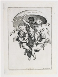 divers objets d'amour, designez en sorte qu'il pourront servir en divers lieux, d'ornemens, et de décorations (set of 6 after louis tettelin by louis ferdinand elle the elder