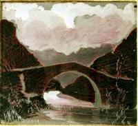 ponte sul fiume by giacomo balla