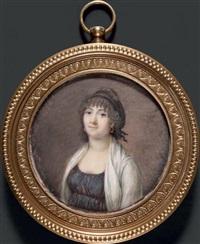 portrait de jeune femme, en buste de trois-quarts vers la gauche by jean baptiste sambat