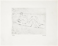 reclining figures on beach (+ 'woman with clasped hands, 1976, color lithograph, lrgr; 2 works) by henry moore