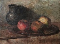 nature morte pichet et trois grenades by haralambos potamianos