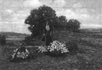 womwn picking flowers by h. a. fish