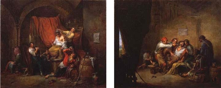 pareja de cuadros; el triunfo de baco (+ el sacamuelas; 2 works) by leonardo alenza y nieto