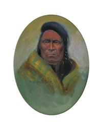 indian portrait with yellow robe by steve seltzer
