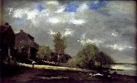 lavandière en bord de rivière by françois edouard bournichon