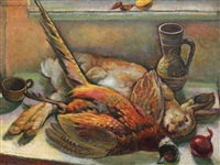 still life with pheasant and rabbit by traian biltiu dancus