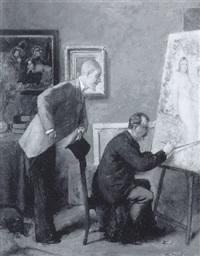 peintre au chevalet by eugène van gelder