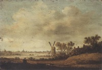 an extensive river landscape with a windmill and houses in the foreground by maerten fransz van der hulst