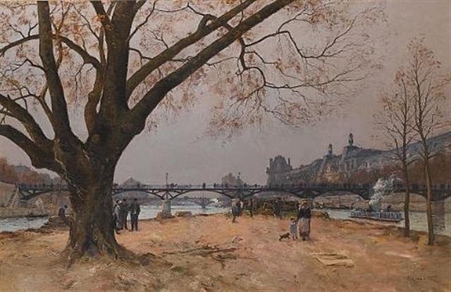 le pont des arts et le musée du louvre paris by henri linguet
