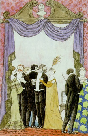 fashionable partiers tempted by television by edward gorey