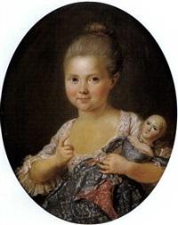 portrait de jeune fille tenant sa poupée by charles lepeintre