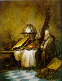 vanitas: anciano sentado ante una mesa con un globo, un reloj de arena, un libro y otros objetos by petrus schotanus