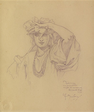 Girl Shielding Her Eyes Pencil Drawing By Alphonse Mucha On