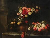 nature morte aux fleurs dans un vase en cuivre et dans un panier by catharina ijkens