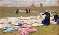 bretonnes étendant le linge by jacques simon