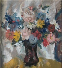 still life with yellow and pink flowers by lena alexander
