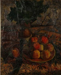 nature morte aux pêches by maurice savreux