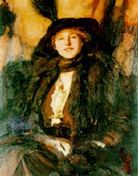 portrait of a lady in a feathered hat by alfred sangster