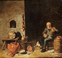 a toper in a kitchen interior by pieter jacobsz duyfhuysen