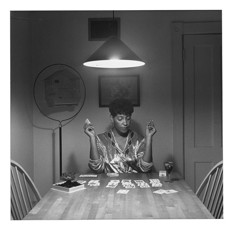 Untitled Woman Playing Solitaire From Kitchen Table Series
