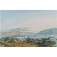 conuco en los valles de aragua con el lago de valencia al extremo derecho by anton goering