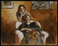 portrait with pablo & chiquita 2 (study) by delia brown