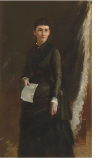 portrait of a lady holding a letter by susan hannah macdowell eakins