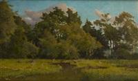 le héron au bord de l'étang by alphonse asselbergs