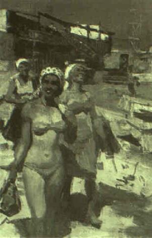 workers afternoon before bathing by serguei babkov