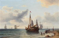 coastal scene with sailing boats and ships by carl ludwig bille