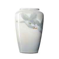 iris vase with geese in flight by edward timothy hurley