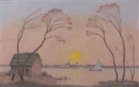 barque en brière, soleil couchant by ferdinand puigaudeau