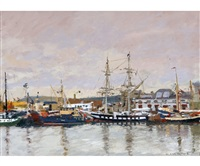 ken howard tall ships in penzance harbour by ken howard