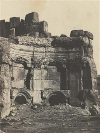 nubie: mosquée de bellal, syrie: baalbeck, hémicycle de l'enceinte des temples du soleil et de jupiter (2 works) by maxime du camp
