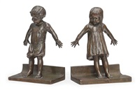 hide and seek bookends (pair) by abastenia st. leger eberle