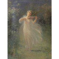woman with violin in a forest clearing by h. irving marlatt