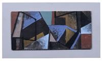 geometrische komposition mit grüner trapezform by erhard hippold