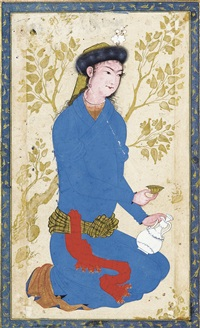 a youth with bottle and cup (w/calligraphy by sultan'ali mashhadi) by reza-i abbasi