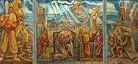 biblical scene (triptych) by arie alweil