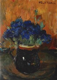 beaker with cornflowers by paul verona