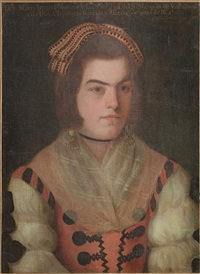 portrait of a lady wearing a white lace chemise and an embroidered pink dress by jose de alzibar